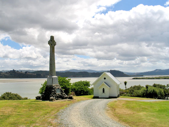 Church and celtic cross at Mangungu