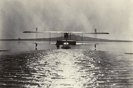 Flying boat takes off