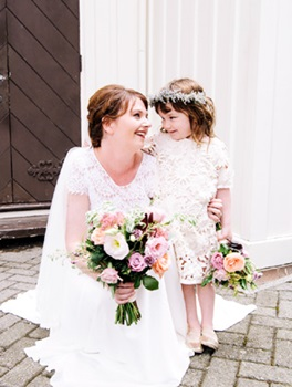 Adorable pair, bride and flower girl