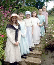 Girls in Victorian dress