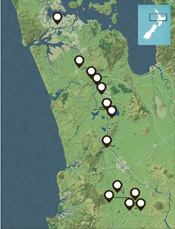 Waikato War Driving Tour map