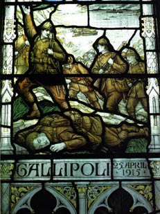 The stained glass window of St Andrew's Church which commemorates those who fell during the Gallipoli campaign. Credit: New Zealand History