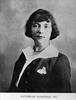 Formal head and shoulders portrait of Katherine Mansfield.