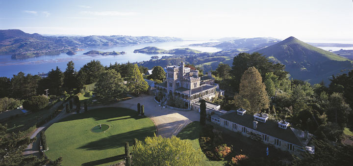 Aerial view of Larnach Castle