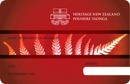 Heritage New Zealand membership card